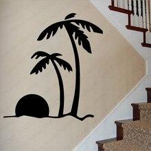 купить Attractive Coconut Tree SceneryWall Stickers For Showcase Decal For Bedrooms Living Roos Home Decoration Sticker Wallpaper LW604 по цене 356.27 рублей