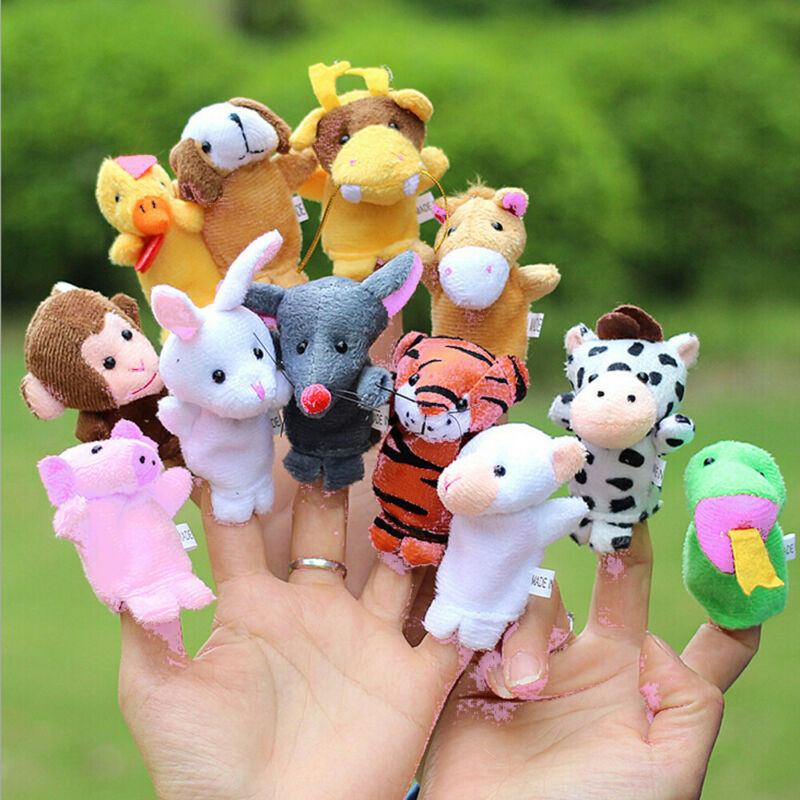 Hot 12Pcs /10 PCS Baby Toys Family Finger Puppets Story Telling Cloth Doll Baby Educational Hand Cartoon Animal Toys Sets