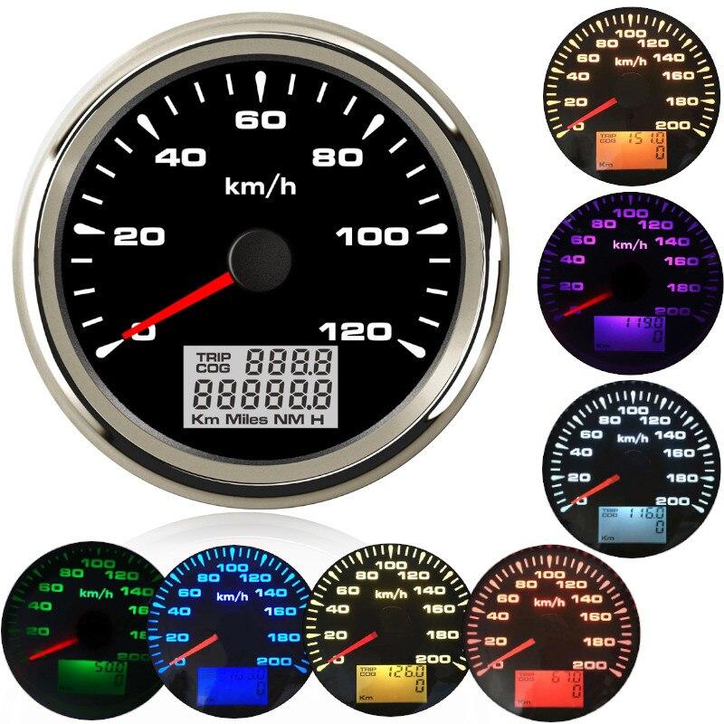 85mm סירת רכב gps מד מהירות רכב הימי סירת GPS מהירות Odometers LCD תצוגת מד 9 ~ 32V עם 7 צבעים תאורה אחורית עבור BMW e60 e46