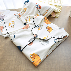 Image 3 - Womens Knitting Cotton Thin Pajamas Cartoon Printing 2 Piece Pyjamas Loungewear Pijama Mujer Long Sleeve Sleepwear Home Clothes