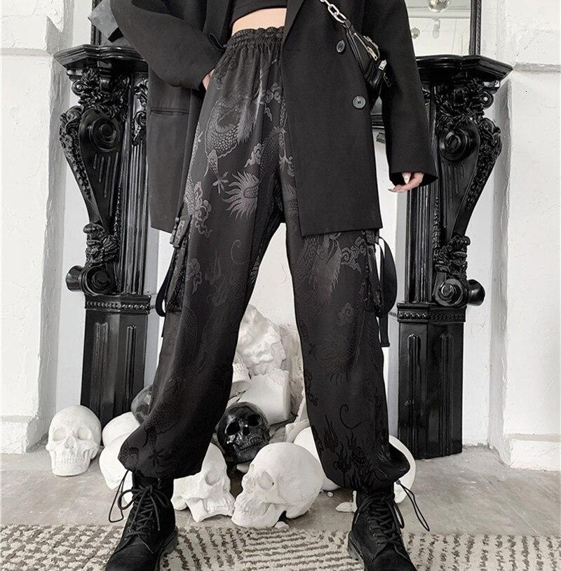Harajuku Elastic Waist Loose Straight Casual Trousers Men And Women Street Style Pants