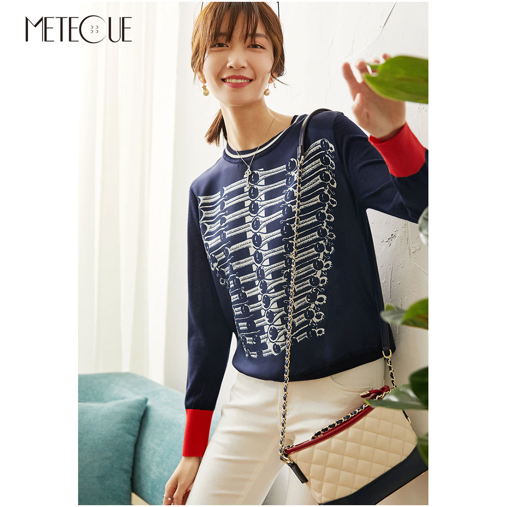 Twill Silk Knitted Patched Women Tops 2020 Spring Summer Fashion Printed Long Sleeve Women Sweaters Knitwears Pullovers
