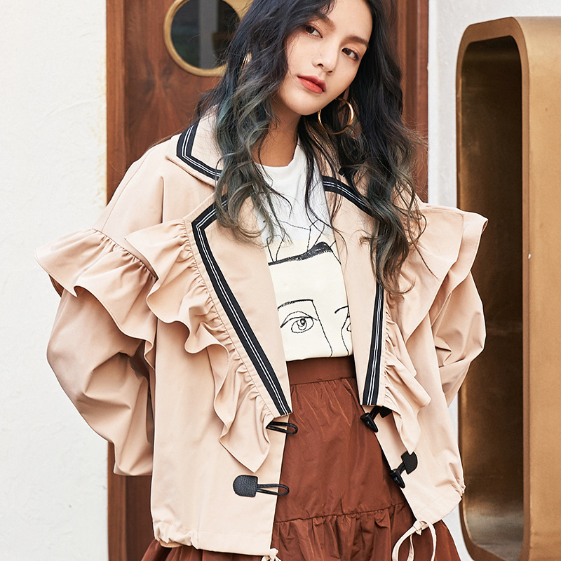 LANMREM 2020 New Spring Ruffles Collar Butterfly Sleeves Single Breasted Wide Waist Jacket Female Coat WL07012M