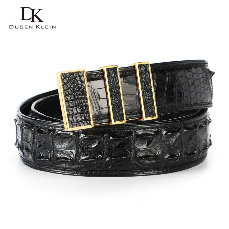 Cinturón de piel de cocodrilo de lujo de Tailandia para hombre, hebilla de acero inoxidable dumen Klein para hombre, cinturón de alta calidad de cocodrilo natural, DK E368 - 4