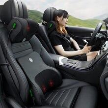 JINSERTA سيارة تدليك مخدة لدعم الرقبة مقعد الظهر دعم مسند الرأس وسادة محاكاة تدليك الإنسان السفر وسادة الملحقات
