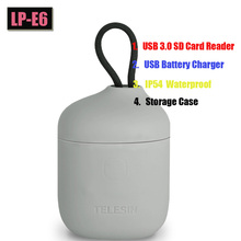 цена на 3 in 1 SD Card Reader, Storage Case,USB Dual Battery Charger+LP-E6 Battery For Canon 5D Mark II III 7D 60D EOS 6D 70D 80D Camera