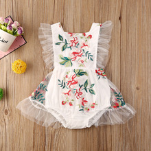 Newborn Toddler Baby Romper Princess Lace Floral Embroidery Baby Girls Summer Clothing Ruffles Sleeveless Jumpsuits Girl Outfits 2020 baby clothing newborn baby girls autumn clothes flower lace floral solid dress bodysuit outfits jumpsuits