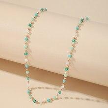 Bohemian Bunte Perlen Halskette Frauen Charme Geometrische Gold Farbe Legierung Metall Kette Halsband Halskette Sommer Schmuck
