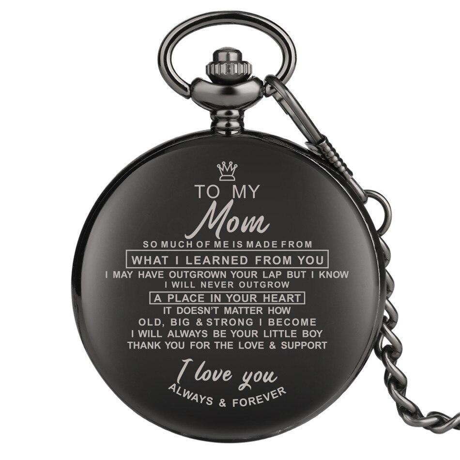 Do My Mom Design grawerowanie laserowe niestandardowy zegarek kieszonkowy kwarcowy antyczny wisiorek zegarek urodziny prezenty na święto dziękczynienia Punk łańcuszek kieszonkowy