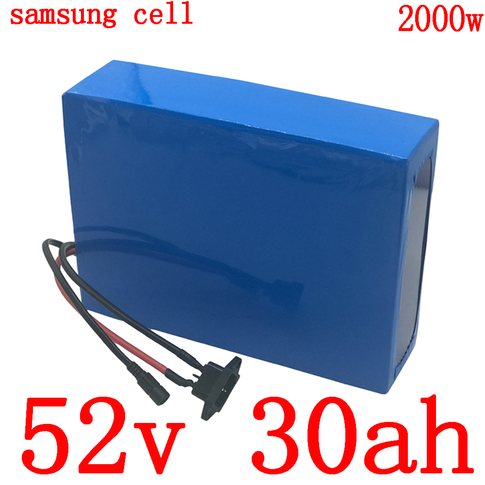 52V 1000W 1500W 2000W ebike battery 52V 30AH electric bicycle battery 52V 30AH Lithium battery use samsung cell with 5A charger