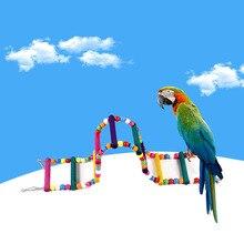 Модный красивый Удобный Популярный Попугай Укус игрушка лестница птица качающаяся подвеска мост лестница деревянные бусины