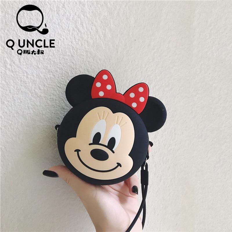 Q UNCLE Imaginative Cartoon Minnie Coin Purse Chain Diagonal Bag Portable Key Earphone Storage Bags Silicone Kawaii Wallet Pouch
