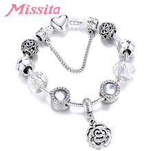 MISSITA Romantic Rose Pendant String Decoration Silver Plated Charm Bracelet Bangle Brand Women for wedding Gift