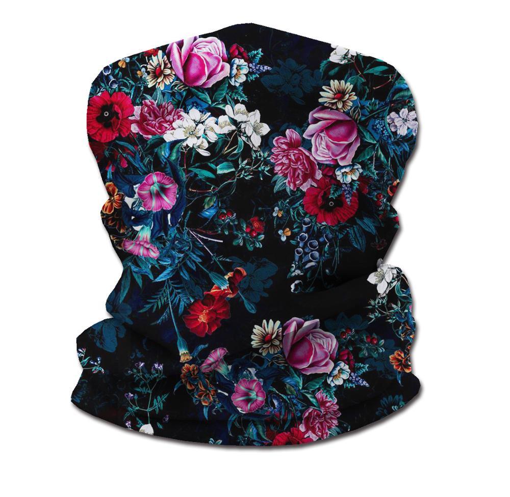 Bandana Women Flower Print Neck Gaiter headband Full Face Motorcycle Windproof Ski Outdoor Winter Sport Headband  tube scarf