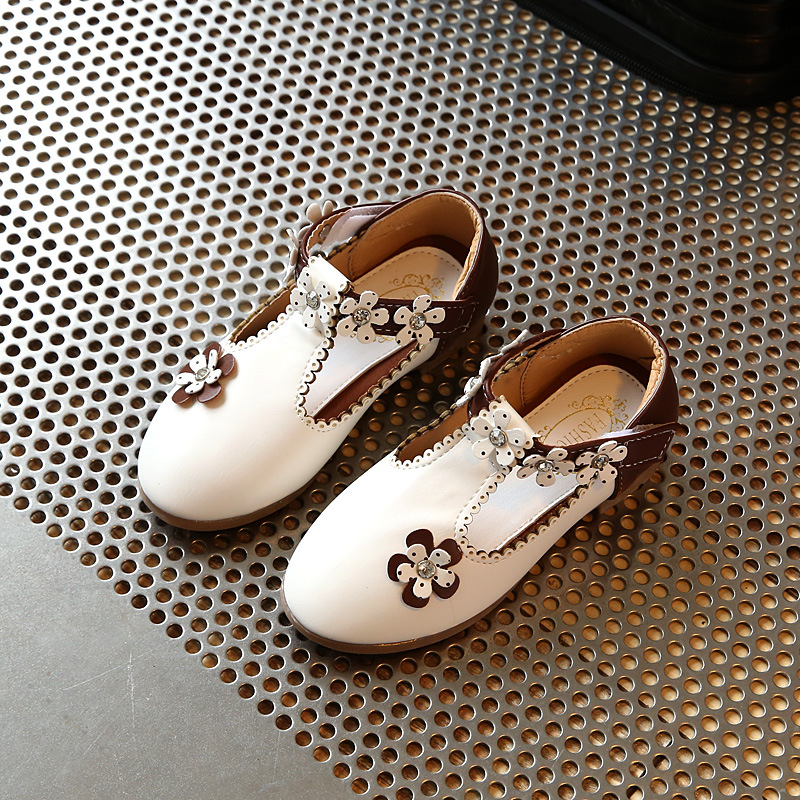 Spring Girls Shoes Princess Hook & Loop Flats Chic Shoes Flowers With Rhinestone Casual Sweet Cute Toddler Baby Leather Shoes