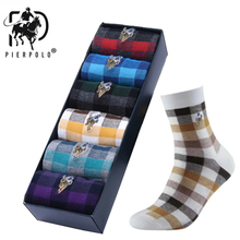 10 pairs/lot PIER POLO Men Cotton Dress Socks Brand Business diamond Sock Male High Quality Leisure Long For mens Gifts