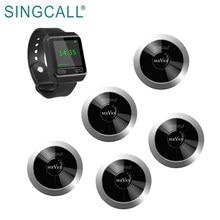 Водонепроницаемая беспроводная система вызова SINGCALL, 1 большой экран, часы-приемник APE6800 и 5 кнопок APE310 серебристого цвета для ресторана