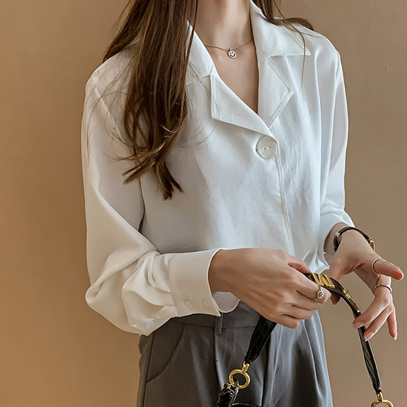 SexeMara 2019 Autumn New Notched Collar Single Button Irregular Hem Solid Full Sleeve Ladies Fashion Loose Chifforn Shirt CST096