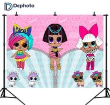 Dephoto Cartoon Themed Girl Photo Backdrop Baby Birthday Newborn Dolls Photography Background for Party Decoration Fotografia