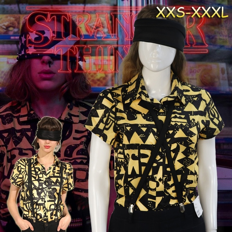 Stranger Things Season 3 Eleven Halloween Carnival Party Cosplay Costume Shirt Blindfold Suspender Summer Short Sleeve Shirt