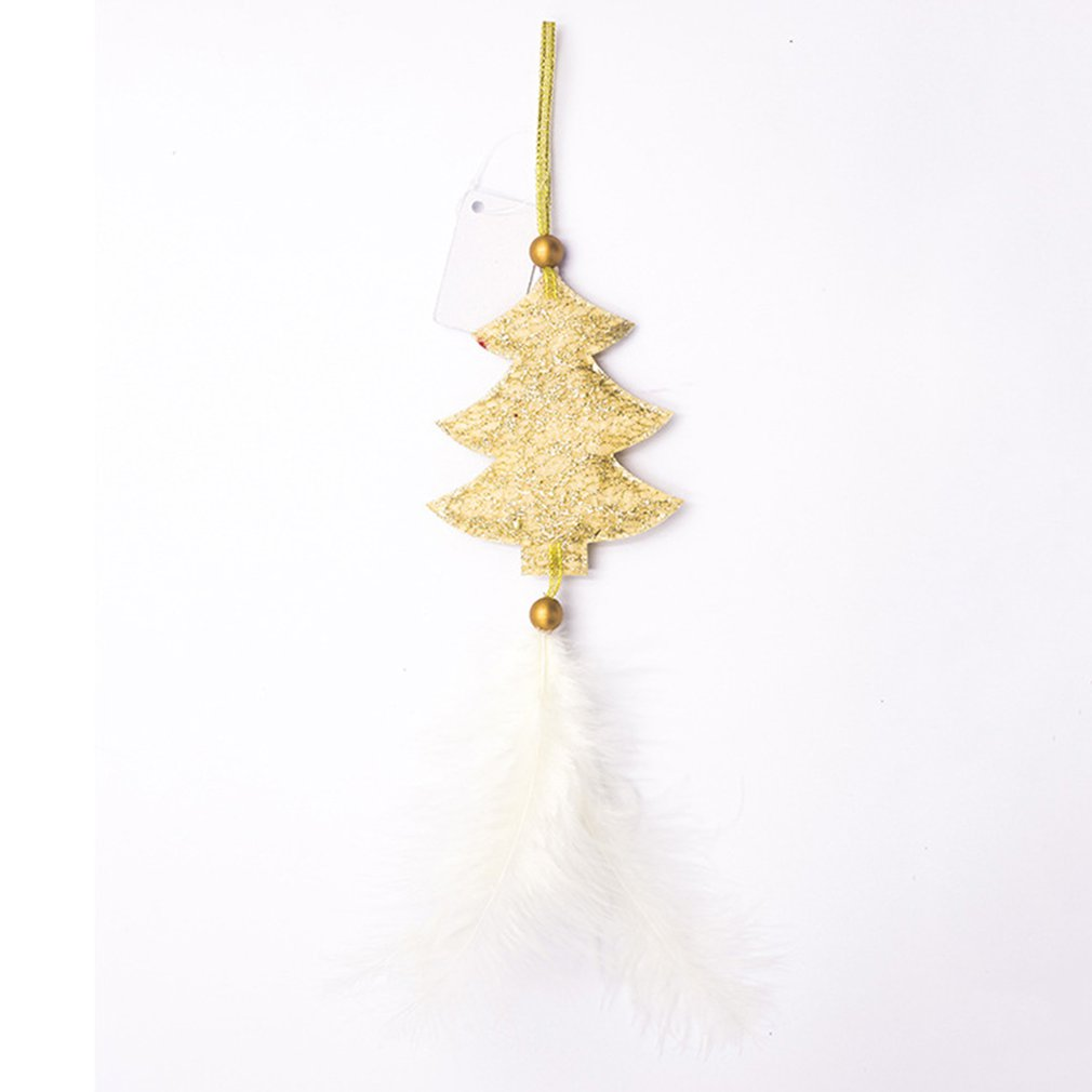 2020 Hot Five-pointed Star Love Feather Pendant Decoration Christmas Tree Pendant Hanging Home Ornament Christmas Gift