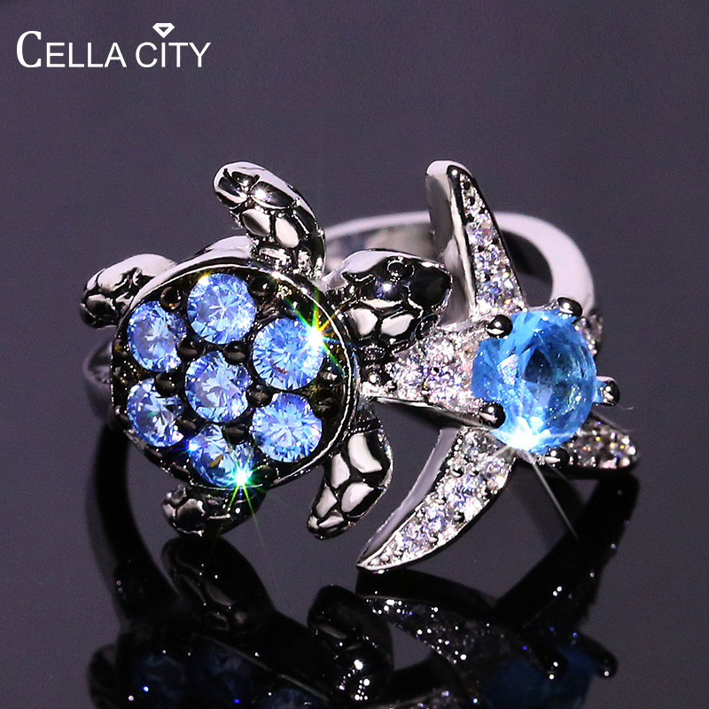 Cellacity Trendy Silver 925 Jewelry Gemstones Aquamarine Ring for Women Tortoise Starfish Size6-10 Female Party Accessory Gift