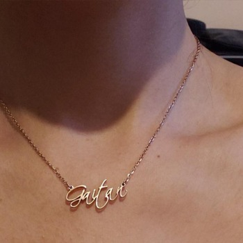 Personalized name necklace Customized Fashion Stainless Steel Name Script Style Gold Choker Necklace Pendant Nameplate Gift customized women jewelry fashion stainless steel name necklace personalized letter gold choker necklace pendant nameplate gift