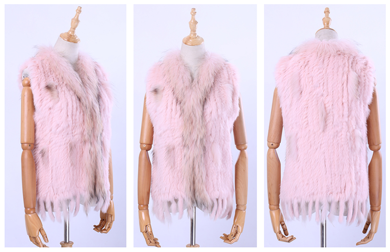 Hf435076d734340ce87dd3c793ec7488eT Brand New Women's Lady Genuine Real Knitted Rabbit Fur Vests tassels Raccoon Fur Trimming Collar Waistcoat Fur Sleeveless Gilet