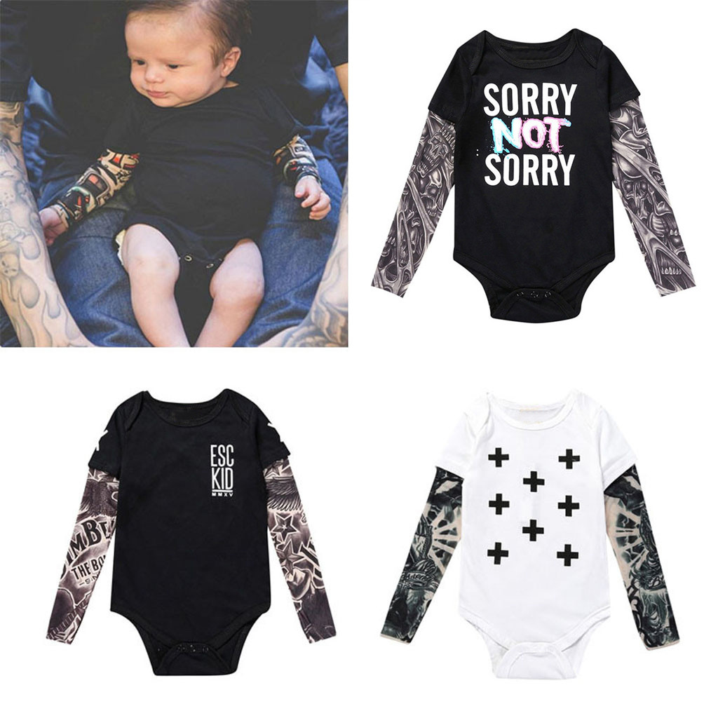 MUQGEW Newborn Baby Boy Tattoo Printed Long Sleeve Christmas Rompers Boys Patchwork Romper Autumn Bodysuit WY8