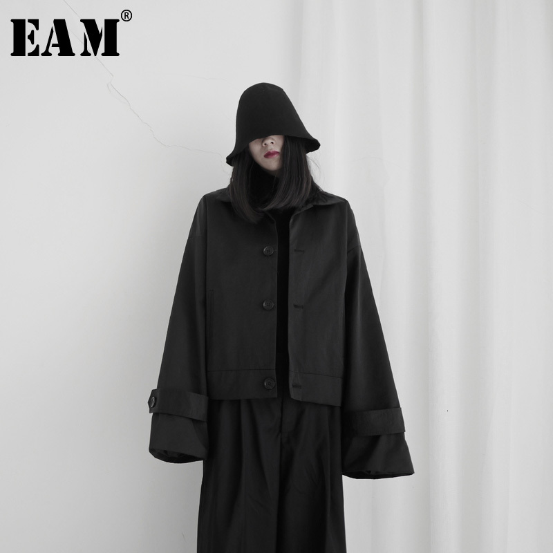 [EAM] Loose Fit Black Brief Temperament Short Jacket New Lapel Long Sleeve Women Coat Fashion Tide Spring Autumn 2020 19A-a608