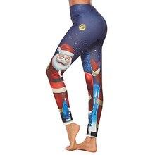 Vrouwen Cartoon Patroon Kerst Leggings Kerstman Printing Broek Hoge Taille Jeggings Workout Push Up Leggins Mujer Leggings