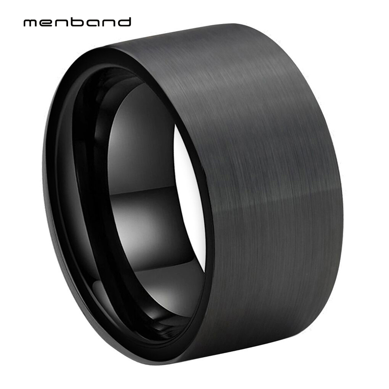 Large Men Ring Black Tungsten Wedding Ring Flat Band And Brushed Finish 12MM Comfort Fit