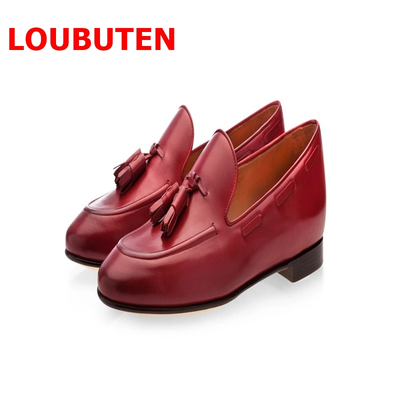 LOUBUTEN Loafers Men Tassel Shoes Luxury Brand New Handmade Jujube Red Leather Slip On Mens Dress Shoes Men 39 s Flats Prom Shoes in Men 39 s Casual Shoes from Shoes