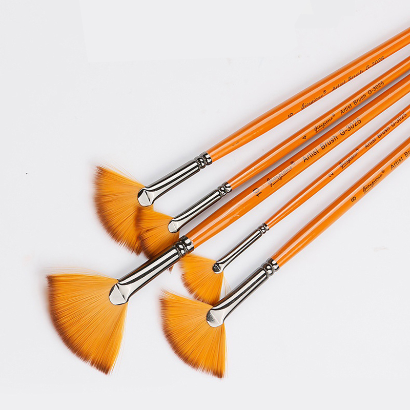 5 Pcs Two-color Nylon Hair Fan Shap Orange Long Wood Pole Pen Oil Painting Acrylic Brush Fan Water Chalk Set Art Supplies