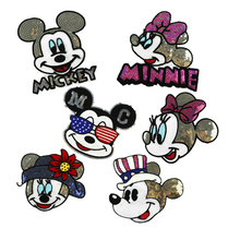 Fashion Sequins Iron On Stickers Embroidered Large Cartoon Mouse Patches Applique For Kids Clothing Tshirt Coat Sew-On 1PC Patch