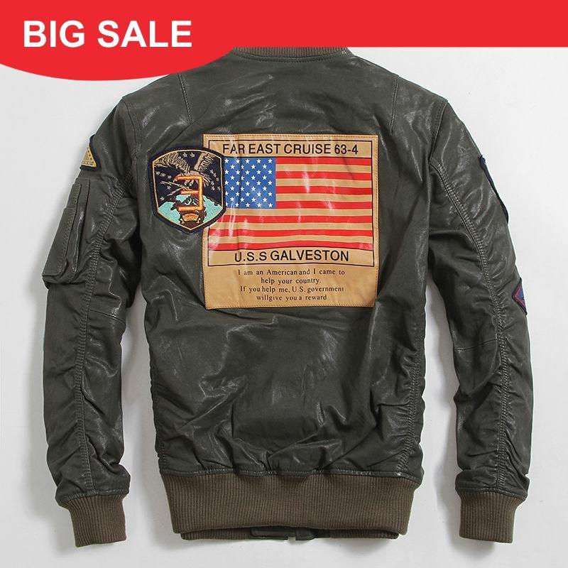 2020 Men Green USAF Military Pilot Leather Jacket Large Szie 6XL Genuine Sheepskin Autumn Slim Fit Aviator Leather Coat