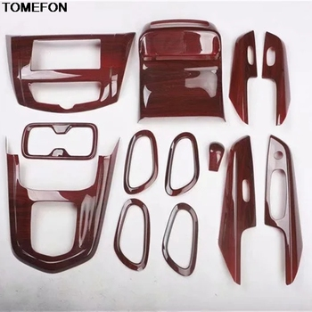 TOMEFON For For Nissan Terra 2018 ABS Wood Print Inner Door Handle Window Switch Gear Shift Panel Interior Trim image