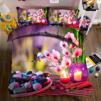 3pcs Duvet Cover set Purple Phalaenopsis & Stone Pattern Luxury Bedding set Soft Pillow case Quilt Cover Double Bedding set