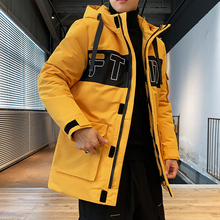 높은 품질 2019 새로운 패션 멀티 포켓 후드 윈드 브레이커 남자 겨울 따뜻한 자 켓 긴 파 카 코트 슬림 맞는 M 4XL