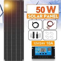 XINPUGUANG Solar Panel 12v 50w flexible 16v mono solar cell PV Module 12v car Battery Charger 5v usb for phone RV boat caravan