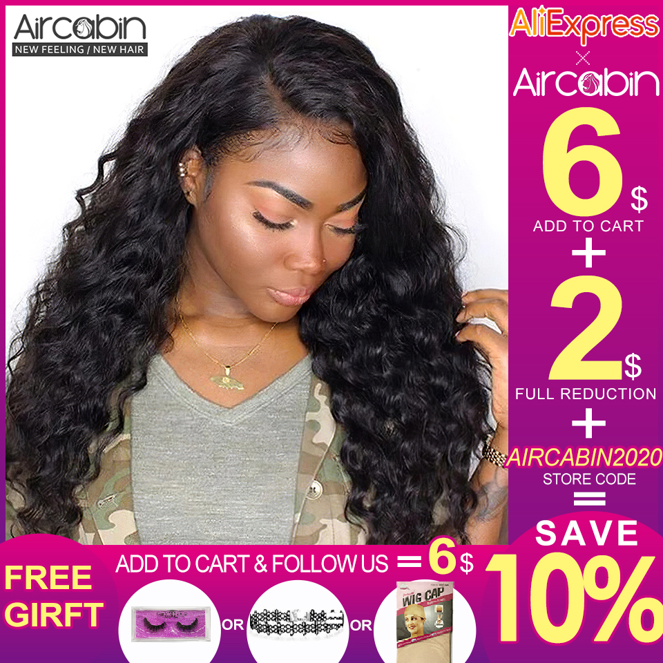 Aircabin Milan Wave 13x4 Lace Frontal Human Hair Wigs Brazilian Remy Hair For Black Women Pre Plucked With Baby Hair Lace Wigs
