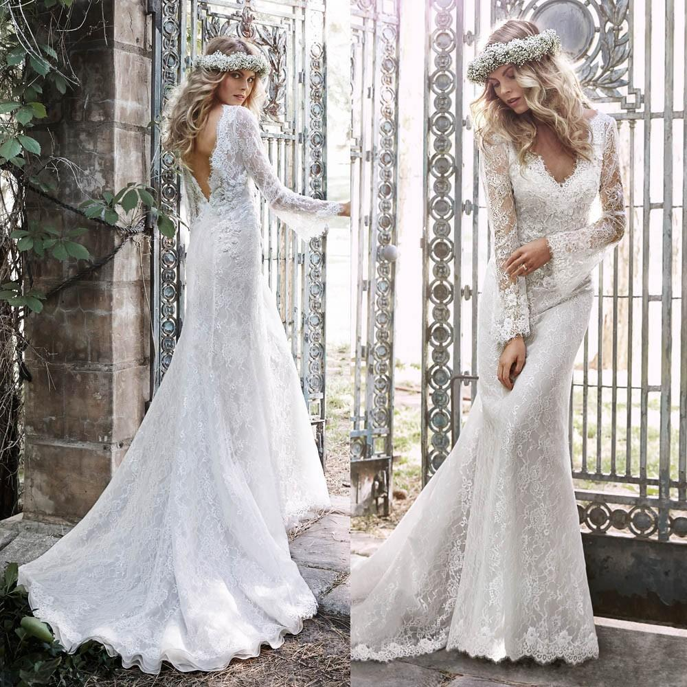 Mermaid Lace Long Sleeve Appliques Beading Sexy V-neck Backless Vestido De Noiva 2018 Bridal Gown Mother Of The Bride Dresses