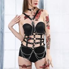 Uyee criativo sexy arnês feminino genuíno couro pu liga cinto harajuku erótico acessórios cintura bondage bdsm feminino LB 167