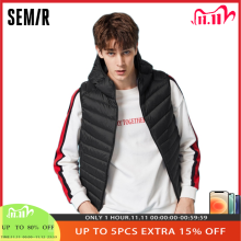 SEMIR Men Lightweight Hooded Down Vest Zip Pocket Hooded Puffer Vest waterproof Inner Pocket winter waistcoat for man