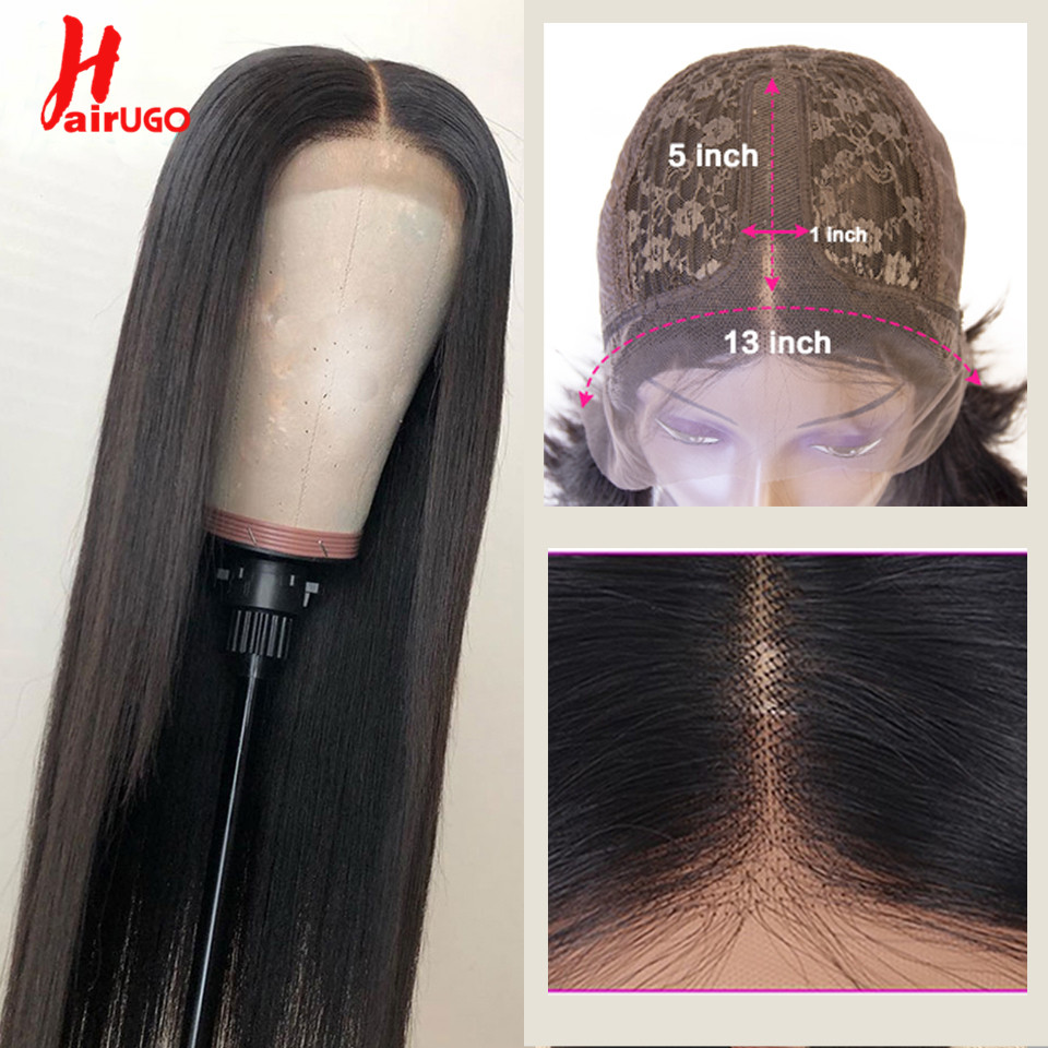 Lace-Wig Wigs Human-Hair-Wigs Hairugo Brazilian Pre-Plucked Black Women Straight