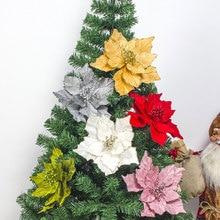 Большие искусственные цветы для рождественского декора, блестящие Искусственные цветы Poinsettia, сделай сам, украшение для дома, Рождества, Нового года, цветок для свадьбы