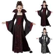 Halloween Costume Scary Witch Vampire Cosplay Childrens performance Masquerade Dress Evening Party Carnival Ball Gowns for Girl