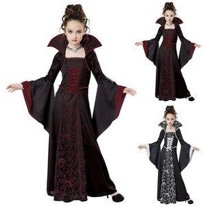 Image 1 - Kostium na Halloween straszny czarownica wampir Cosplay wydajność dla dzieci sukienka bal przebierańców wieczorne Party karnawałowe suknie balowe dla dziewczynki