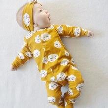 Комбинезон с оборками и принтом облака для новорожденных девочек; Пижама; мягкая теплая одежда с длинными рукавами