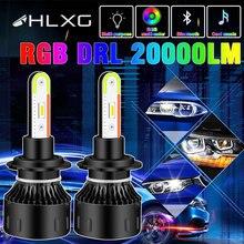 H4 H7 Led RVB Phare Coloré Hb3 Hb4 9005 9006 H8 H11 Voiture Lumière Turbo LED Application Bluetooth Contrôle 20000LM Moto Ampoule HLXG